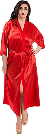 Nine X Long Satin Dressing Gown S-7XL, 8-28 Robe Red M