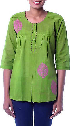 Novica Cotton blouse, Gujrati Green - India Embellished Cotton Tunic Blouse