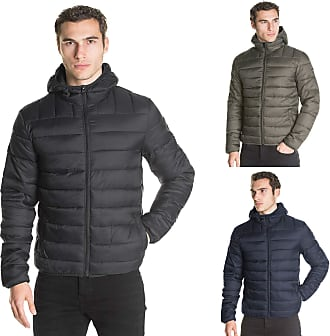 883 Police Mens Jacket Shaka Zip Up Quilted Bubble Coat Plain Padded Puffer Winter (Navy, M)