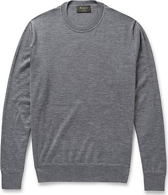 Berluti Leather-trimmed Fine-knit Cashmere And Silk-blend Sweater - Gray
