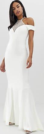 City Goddess Lange bruidsjurk met blote schouders, lange achterkant en versiering-Wit