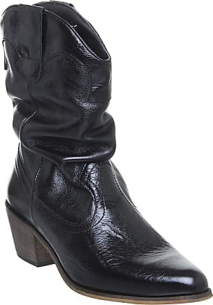 Office Across-Ruched Western Boot Shiny Black Leather - 6 UK
