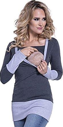 Happy Mama Marine, EU 36, S Damen Kapuzenpullover Stillzeit Top Zweilagiges Sweatshirt 272p