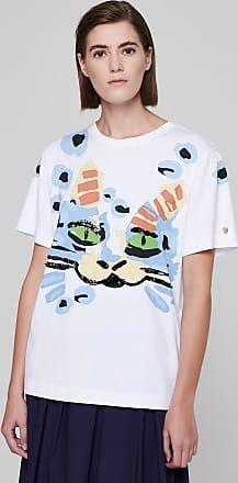 Escada Embroidered Cat Print T-shirt