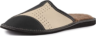 Ladeheid Mens Slippers House Shoes LAFA013 (Beige/Black, 45 EU = 10.5 UK)