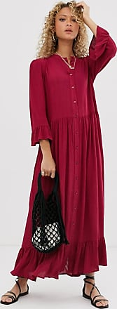 Asos button through tiered smock maxi dress in crinkle