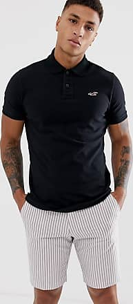 Hollister icon logo heritage slim fit pique polo in black