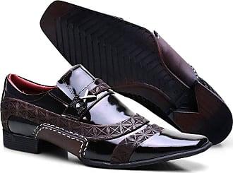 Calvest Sapato Social Masculino Calvest em Couro Café Verniz com Detalhes Trançados em Couro e Costuras Manuais - 3260C547-45