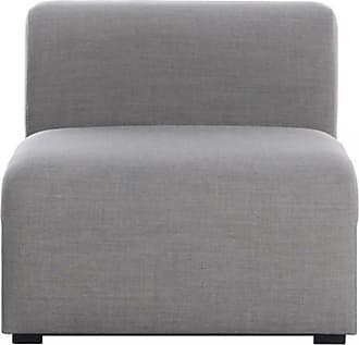 HAY Mags Sofa-Modul Mitte schmal 74,5x95,5cm - dunkelgrau/Stoff Remix 133/Füße Kiefernholz schwarz gebeizt/mit Filzgleitern