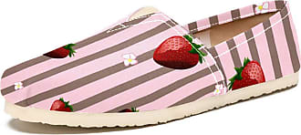 Tizorax Slip on Loafer Shoes for Women Strawberry and Floral On Stripes Comfortable Casual Canvas Flat Boat Shoe