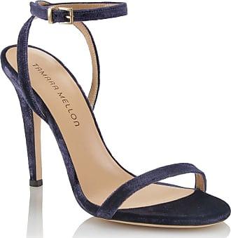 Tamara Mellon Reveal Navy Velvet Sandals, Size - 35.5