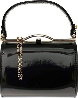 Girly HandBags Girly HandBags Patent Faux Leather Clutch Bag Top Handle Handbag - Black