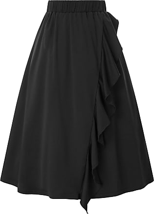 Grace Karin Retro Elastic Waist Skirt for Women 1950s Summer A-line Ruffled High Tea Outing Skirt Black XXL