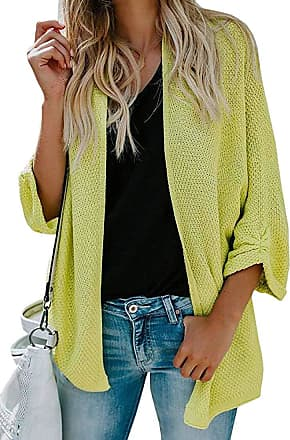 H&E Womens Open Front Knitted Sweater Loose Coat Batwing Sleeve Cardigans Green2 L