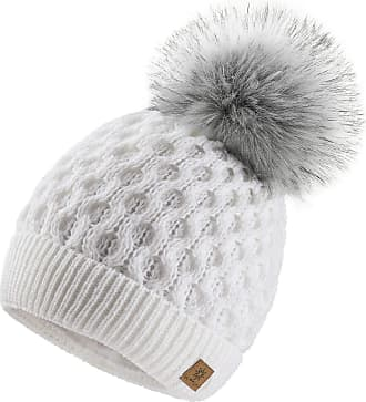 4sold Ladies Chunky Soft Cable Knit Handmade Woman Hat Cosy Fleece Liner and Bobble Faux Fur Pom pom (LORA White)