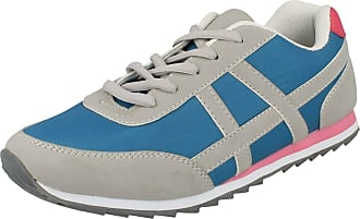 Spot On Ladies Flat Casual Lace Up Trainers - Blue/Grey Synthetic - UK Size 8 - EU Size 41 - US Size 10