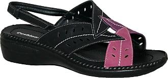 Cushion-Walk Ladies Lightweight Summer Slingback Sandal with Leaf Design Black Pink 8