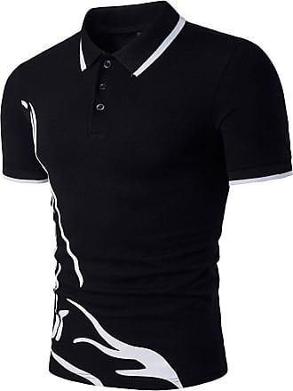 NPRADLA Polo Short Shirts New Hot Mens Slim Sports Short Sleeve Casual Shirt T-Shirts Tee Turn-Down Collar Short Tops Blouses Black
