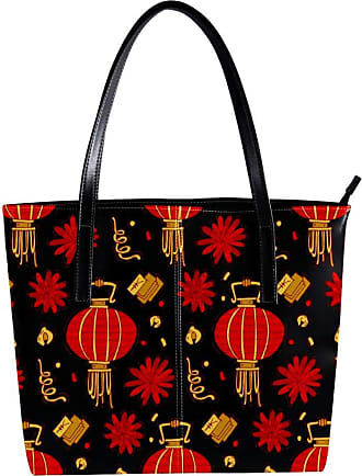 Nananma Womens Bag Shoulder Tote handbag with Traditional Elements Lantern Colorful Pattern Zipper Purse PU Leather Top-handle Zip Bags