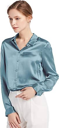 LilySilk Womens 100 Charmeuse Silk Blouse for Lady Long Sleeve Top 22 Momme Pure Silk (M/12, Blue-Haze)