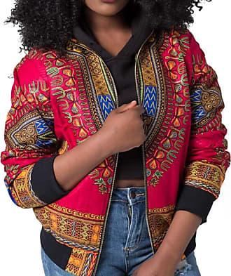 FNKDOR Design Women Traveling Cool Dashiki Long Sleeve Fashion African Print Dashiki Short Casual Jacketb Blazers(Hot Pink,UK-12/CN-S)