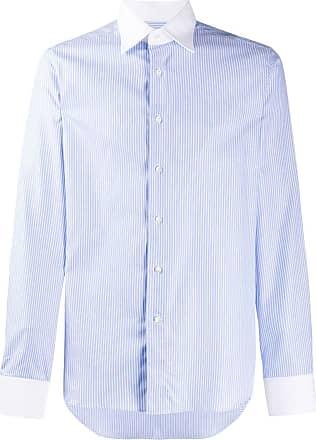 Canali Camisa com gola contrastante - Azul