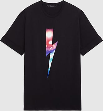 Neil Barrett City Lights Bolt Rolled Up Modal Cotton T-shirt