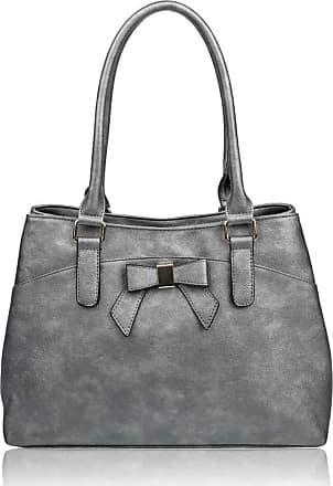 LeahWard Womens Bow Shoulder Bags Large School Handbags R08 (Anti Silver)