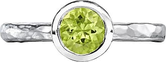 Dower & Hall 6mm Peridot Hammered Twinkle Ring