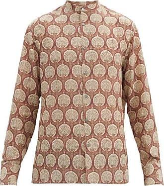 73 London Band-collar Floral-print Silk Shirt - Mens - Red Multi
