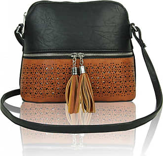 LeahWard Womens Quality Faux Leather Cross Body Bags Tassel Shoulder Bag Handbags For Holiday Party 1061 (BLACK/BROWN)