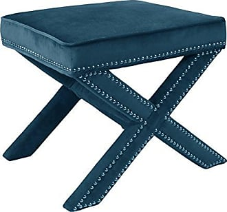 New Pacific Direct 1900037-130 Marguerite Nailhead Stool Benches, Mozart Blue