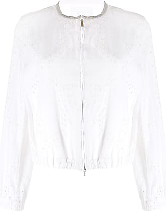 Fabiana Filippi embroidered floral cropped jacket - White