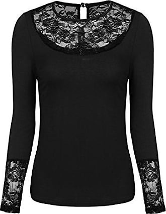Damen Langarm Bluse Top Floral Spitzen Patchwork Party Club Hemd Tunika Shirt