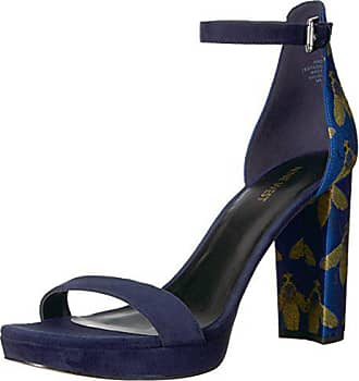 Nine West Womens Dempsey Heeled Sandal, Blue/Navy Fabric, 9.5 M US