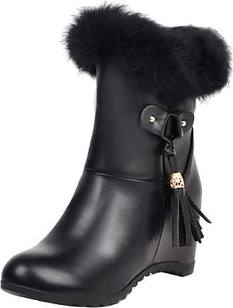 RAZAMAZA Women Sweet Fringe Boots High Heels Short Boots Zipper Winter Boots School Boots Black Size 35 Asian