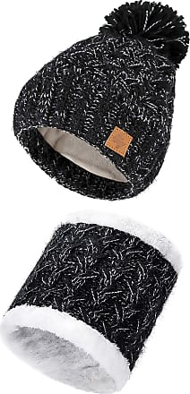 4sold Mens Womens Beanie Warm Knitted Hat and Circle Scarf Skiing Hat Outdoor Sports Hat Sets Full Cosy Fleece Liner (Set Black White)