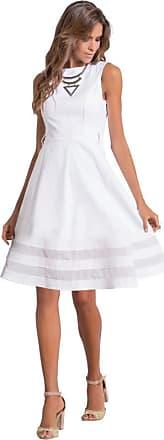 Quintess Vestido Quintess até o Joelho Branco Social (XLG)
