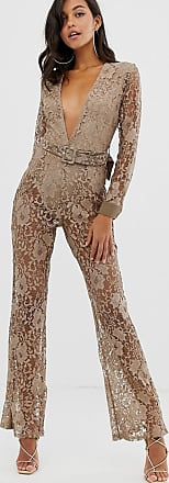 In The Style lace plunge jumpsuit-Grey