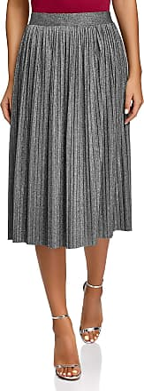 oodji Collection Womens Pleated Midi Lurex Skirt, Silver, UK 16 / EU 46 / XXL