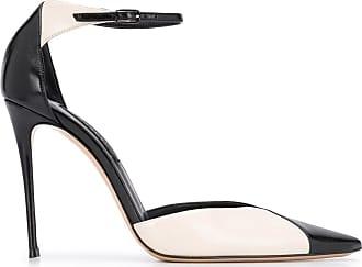 Casadei Sapato com recorte contrastante e salto 110mm - Preto
