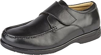 Roamers Mens Leather XXX Extra Wide Touch Fastening Casual Shoe (12 UK) (Black)