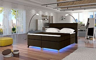 Stylefy Amadeo LED Boxspringbett 165x205x126 cm Braun
