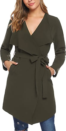 iClosam Womens Trench Coat Belted Thin Jacket Trench Pea Coat Overcoat Outwear Ladies Waterfall Long Sleeves Cardigan (Green, XL)