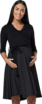 Happy Mama Womens Maternity Skater Dress 3/4 Sleeves 525p (Black & Black Dots, UK 10/12, M)