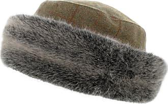 Hawkins AE10 Ladies 100% Wool Tweed Hat with Super Soft Fur Trim (Teflon Coated) (Brown Tweed)
