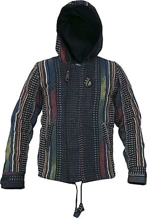 Gheri Mens Hippie Natural Cotton Knitted Funky Nepalese Hoodie Jacket X-Large