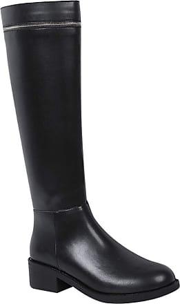 Daytwork Knee High Riding Boots - Womens Winter Low Heel Combat Boots Zipper Closure Classic Thick Heel Comfy Warm Long Knight Boots Black