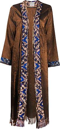 Forte_Forte jacquard open coat - Brown