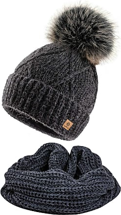 4sold Womens Ladies Beanie Scarf & Hat Pom Pom Warm Winter Natural Wool Mohair Lining Full Cosy Fleece Liner - Set Carla Dark Grey